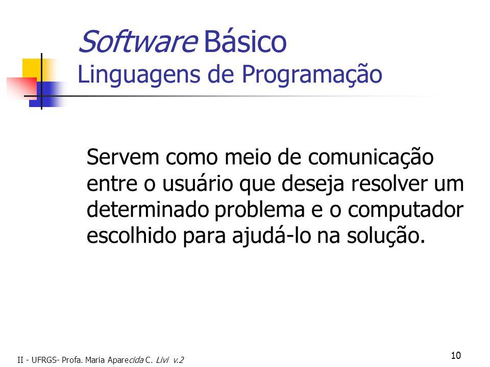 II - UFRGS- Profa. Maria Aparecida C. Livi v.2 10 Software Básico Linguagens de Programação Servem como meio de comunicação entre o usuário que deseja