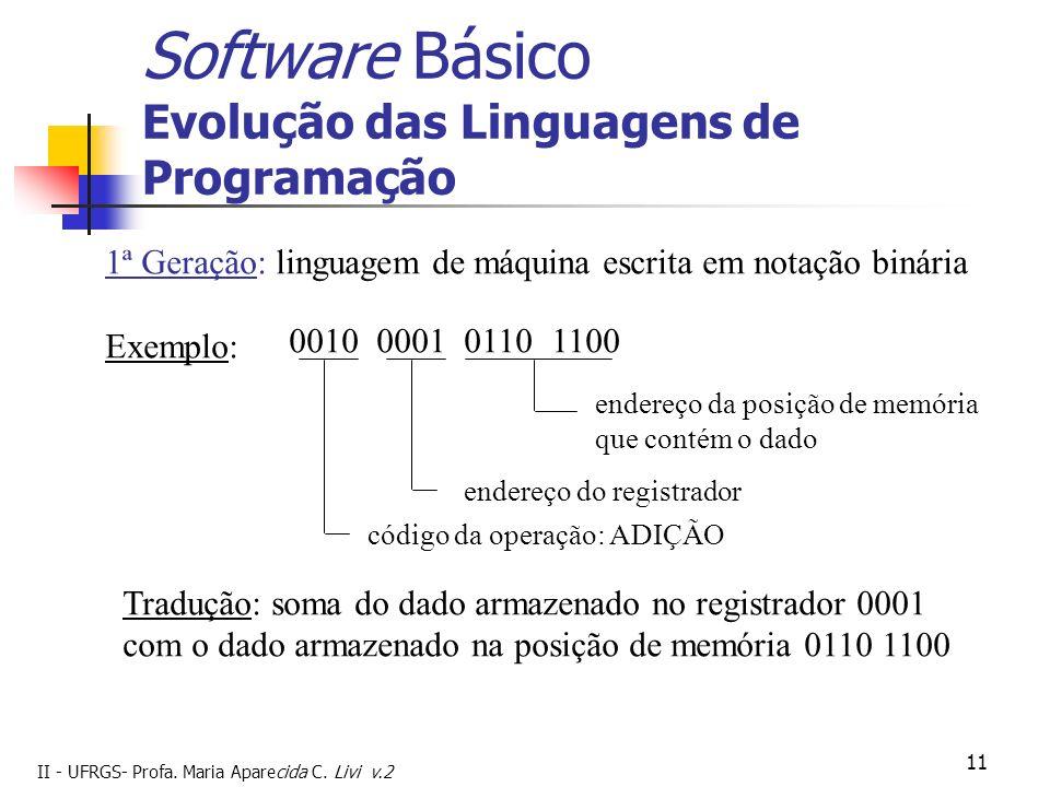 II - UFRGS- Profa. Maria Aparecida C. Livi v.2 11 Software Básico Evolução das Linguagens de Programação 1ª Geração: linguagem de máquina escrita em n