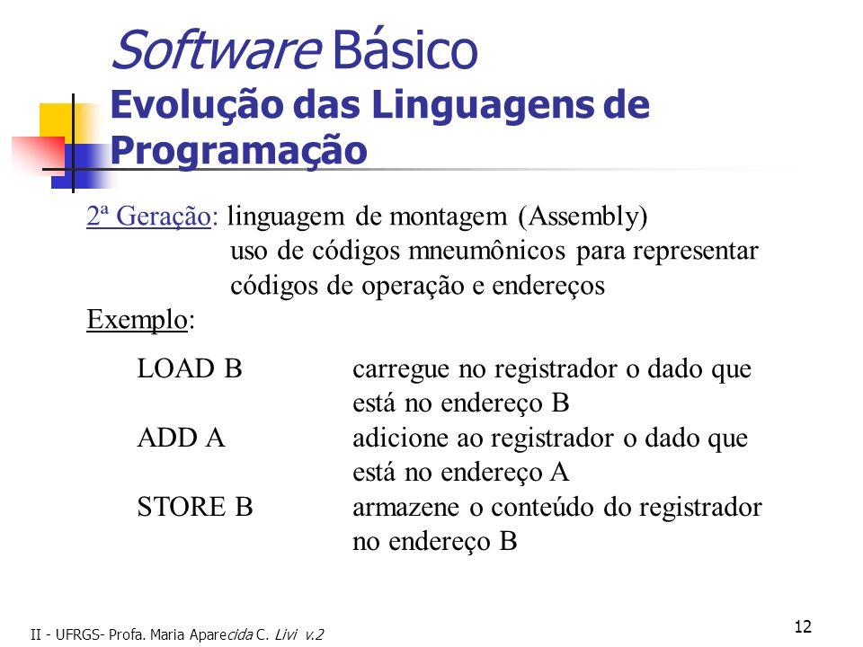 II - UFRGS- Profa. Maria Aparecida C. Livi v.2 12 Software Básico Evolução das Linguagens de Programação 2ª Geração: linguagem de montagem (Assembly)