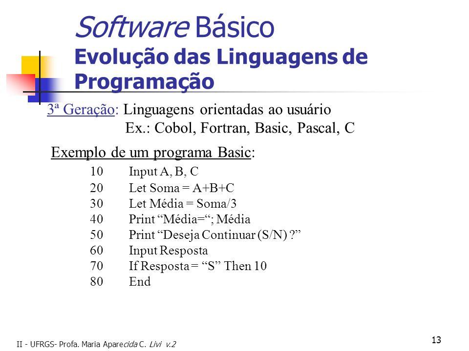 II - UFRGS- Profa. Maria Aparecida C. Livi v.2 13 Software Básico Evolução das Linguagens de Programação 3ª Geração: Linguagens orientadas ao usuário