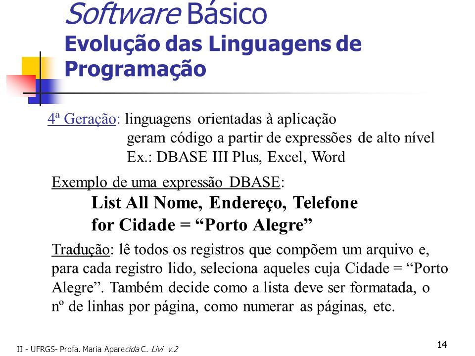 II - UFRGS- Profa. Maria Aparecida C. Livi v.2 14 Software Básico Evolução das Linguagens de Programação 4ª Geração: linguagens orientadas à aplicação