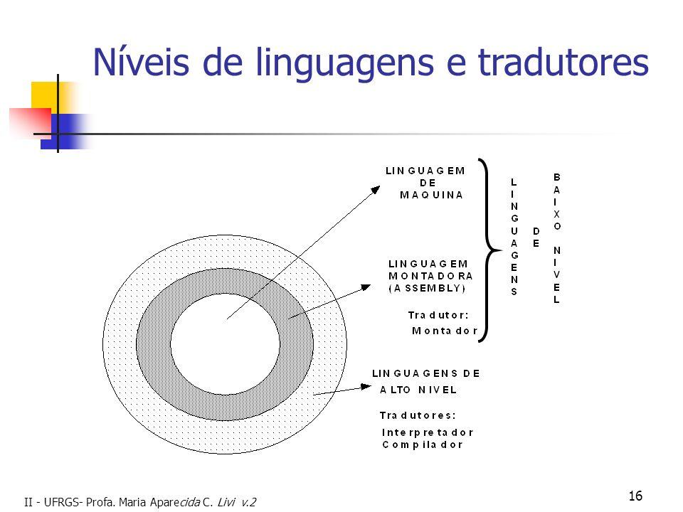 II - UFRGS- Profa. Maria Aparecida C. Livi v.2 16 Níveis de linguagens e tradutores