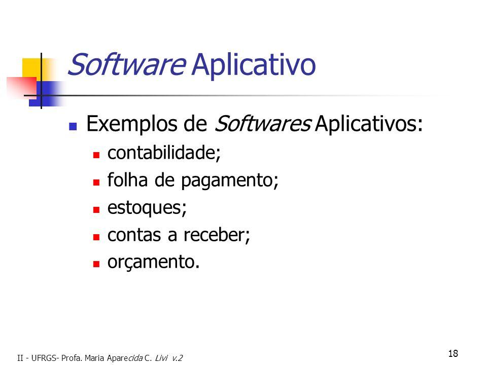 II - UFRGS- Profa. Maria Aparecida C. Livi v.2 18 Software Aplicativo Exemplos de Softwares Aplicativos: contabilidade; folha de pagamento; estoques;
