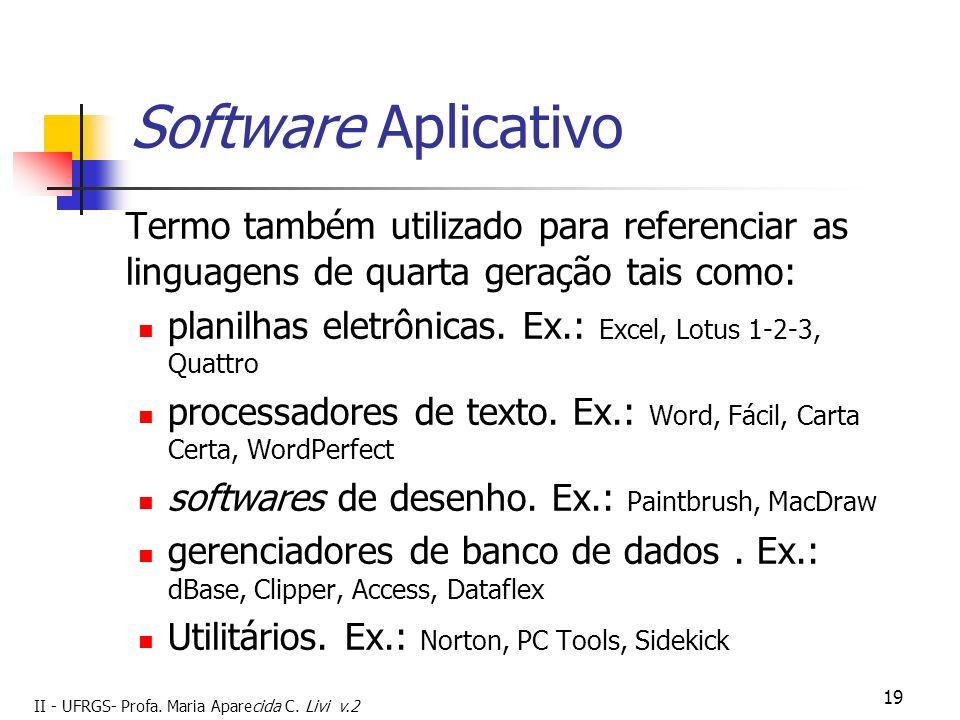 II - UFRGS- Profa. Maria Aparecida C. Livi v.2 19 Software Aplicativo Termo também utilizado para referenciar as linguagens de quarta geração tais com