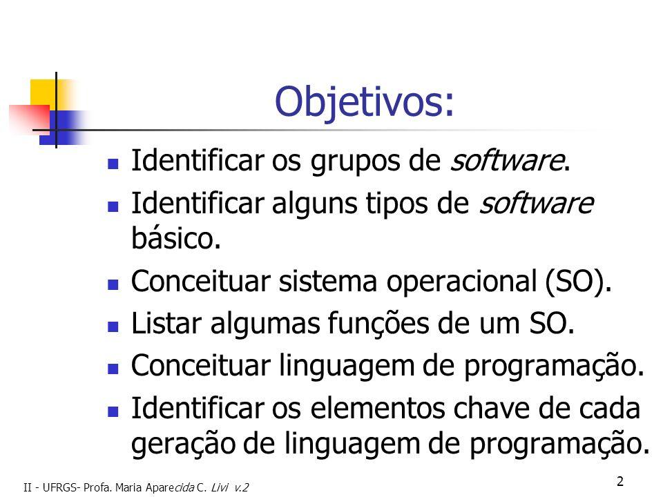 II - UFRGS- Profa. Maria Aparecida C. Livi v.2 2 Objetivos: Identificar os grupos de software. Identificar alguns tipos de software básico. Conceituar