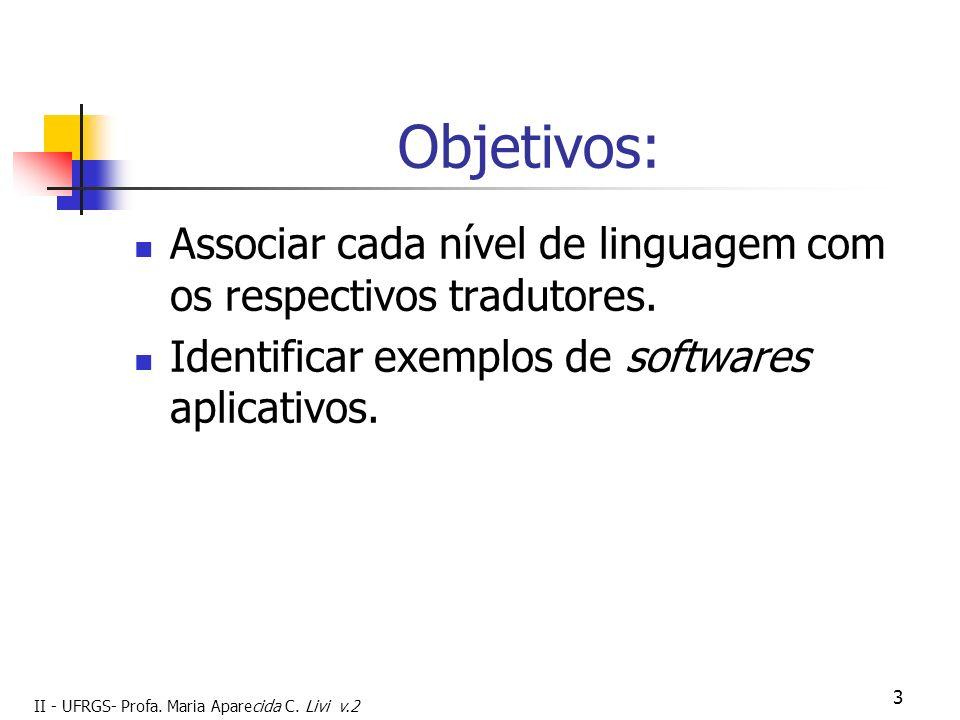 II - UFRGS- Profa. Maria Aparecida C. Livi v.2 3 Objetivos: Associar cada nível de linguagem com os respectivos tradutores. Identificar exemplos de so