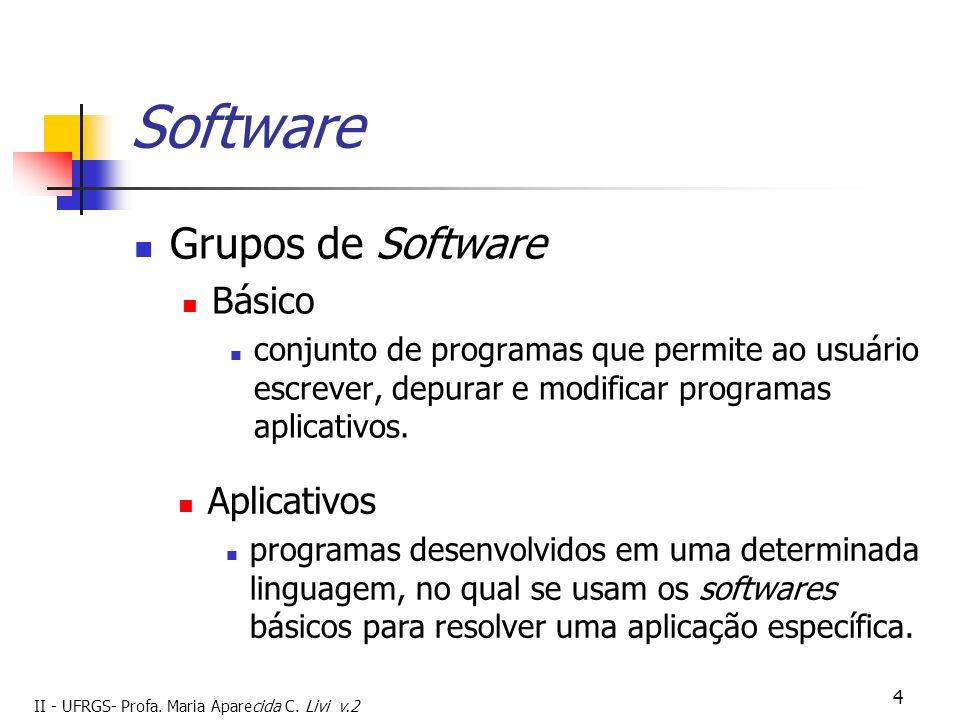 II - UFRGS- Profa. Maria Aparecida C. Livi v.2 4 Software Grupos de Software Básico conjunto de programas que permite ao usuário escrever, depurar e m