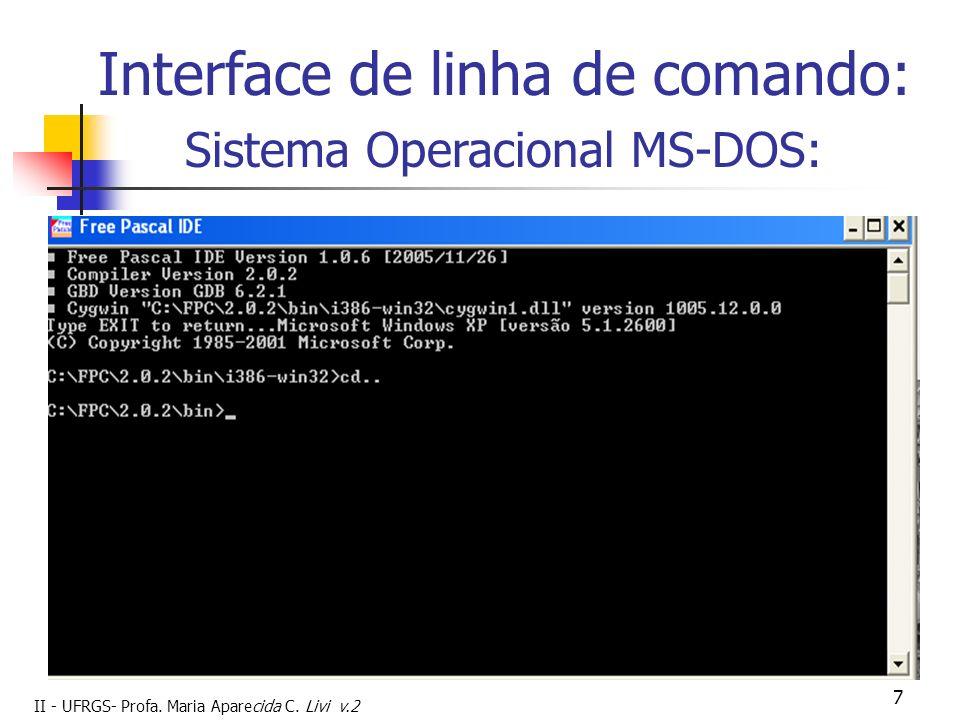II - UFRGS- Profa. Maria Aparecida C. Livi v.2 7 Interface de linha de comando: Sistema Operacional MS-DOS: