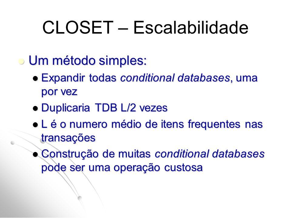 CLOSET – Escalabilidade Um método simples: Um método simples: Expandir todas conditional databases, uma por vez Expandir todas conditional databases, uma por vez Duplicaria TDB L/2 vezes Duplicaria TDB L/2 vezes L é o numero médio de itens frequentes nas transações L é o numero médio de itens frequentes nas transações Construção de muitas conditional databases pode ser uma operação custosa Construção de muitas conditional databases pode ser uma operação custosa