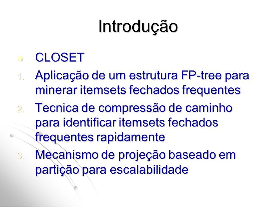 Introdução CLOSET CLOSET 1. Aplicação de um estrutura FP-tree para minerar itemsets fechados frequentes 2. Tecnica de compressão de caminho para ident