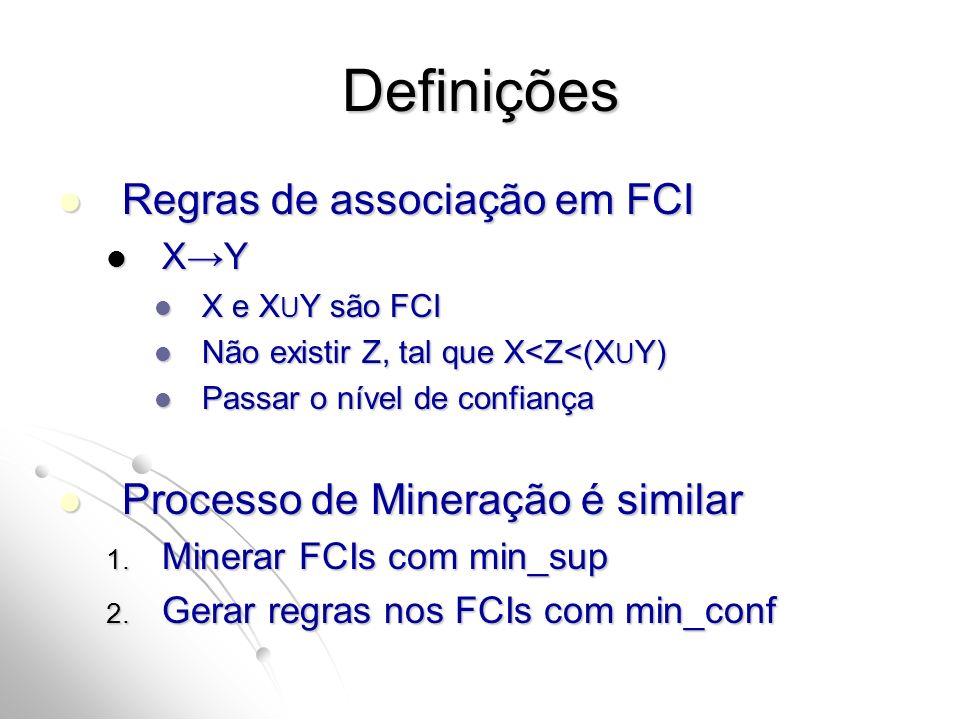 Definições Regras de associação em FCI Regras de associação em FCI XY XY X e X U Y são FCI X e X U Y são FCI Não existir Z, tal que X<Z<(X U Y) Não ex