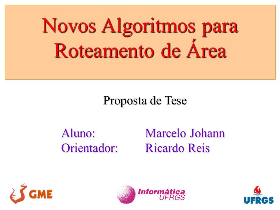 Novos Algoritmos para Roteamento de Área - Marcelo Johann / 1999 Propostas: Definição precisa –relacionamento com roteamento global –comparações de problemas genéricos Adaptação a situações práticas –inserção de espaços no roteamento –inserção de espaços no posicionamento –roteamento em até 4 camadas –roteamento com conexões de largura variável Roteamento com o Algoritmo LEGAL Roteamento com o Algoritmo LEGAL 6