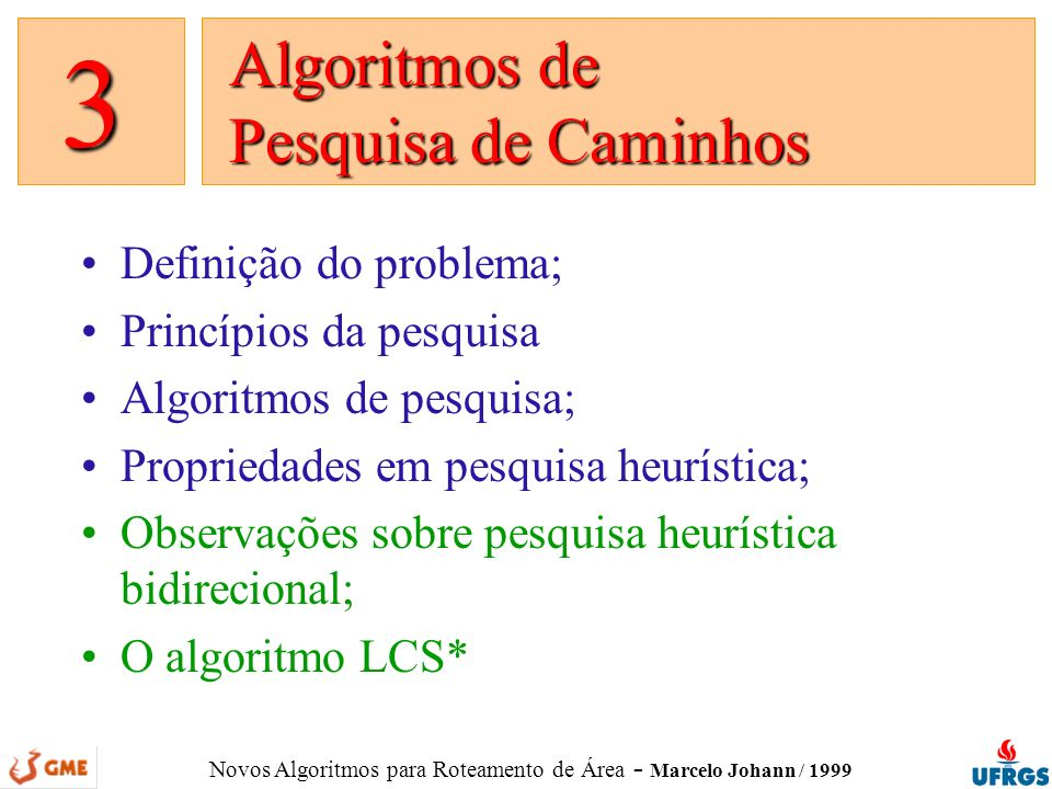 Novos Algoritmos para Roteamento de Área - Marcelo Johann / 1999 Definição do problema; Princípios da pesquisa Algoritmos de pesquisa; Propriedades em