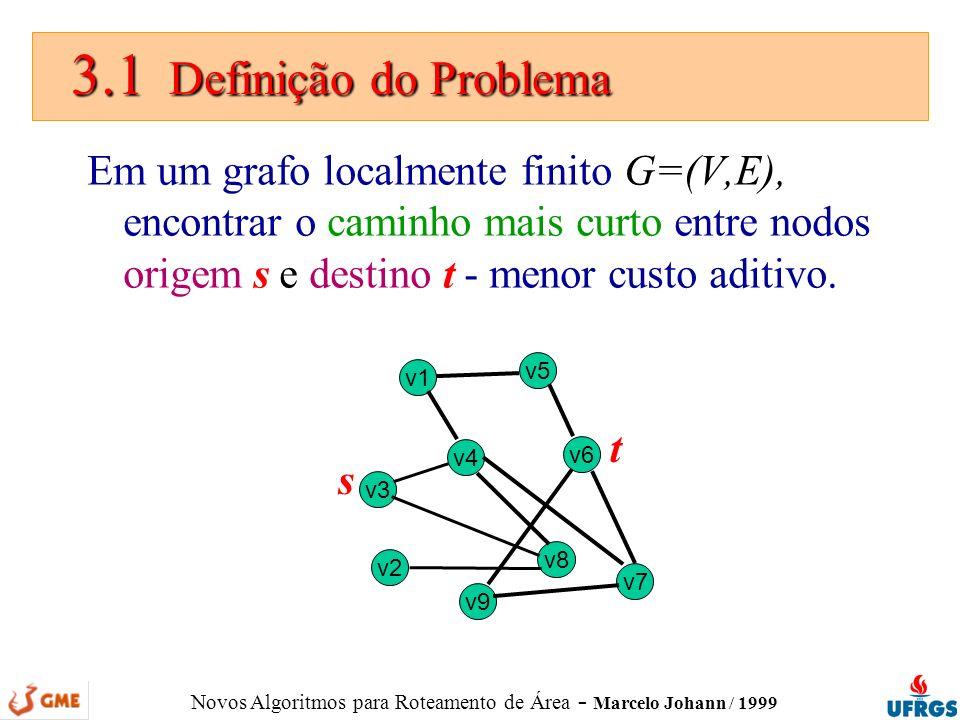 Novos Algoritmos para Roteamento de Área - Marcelo Johann / 1999 3.1 Definição do Problema 3.1 Definição do Problema Em um grafo localmente finito G=(