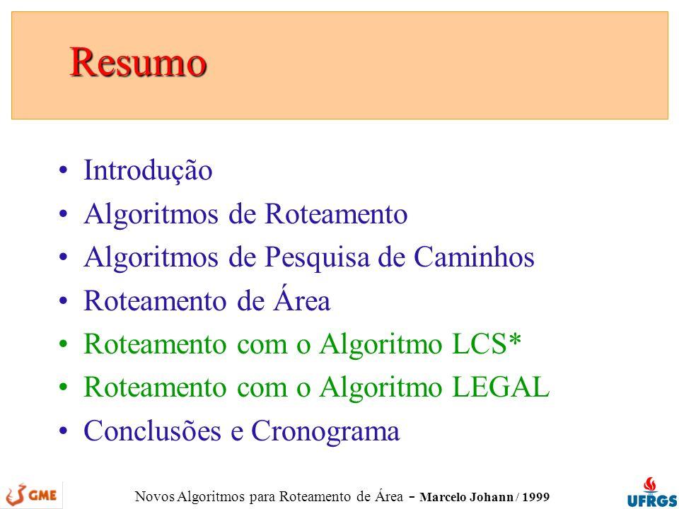 Novos Algoritmos para Roteamento de Área - Marcelo Johann / 1999 Introdução Introdução Roteamento é a parte da síntese física responsável por definir as rotas das conexões é uma tarefas complexa; relaciona-se com a tecnologia de fabricação; consiste em muitos problemas distintos; requer uma variedade de algoritmos; 1