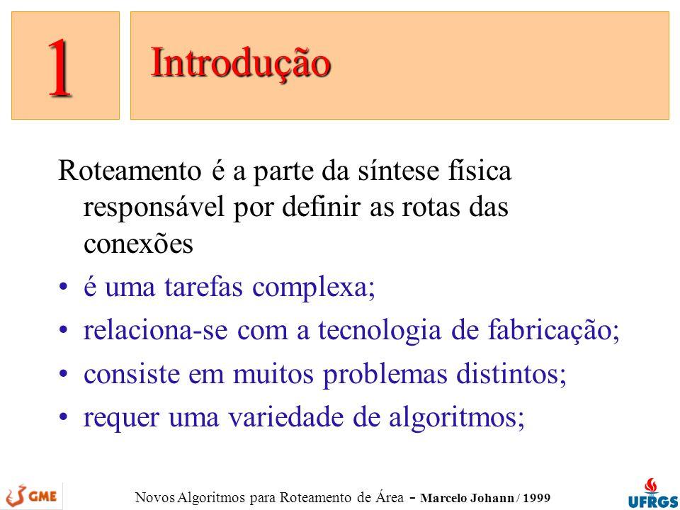 Novos Algoritmos para Roteamento de Área - Marcelo Johann / 1999 novembro: testes e implementação de roteador com LCS* infra-estrutura: multi-grade, modelos, estruturas dezembro: continuação janeiro: implementação do LEGAL testes: LCS* vs.