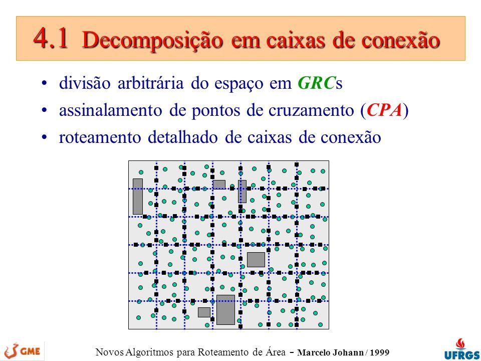 Novos Algoritmos para Roteamento de Área - Marcelo Johann / 1999 4.1 Decomposição em caixas de conexão 4.1 Decomposição em caixas de conexão divisão a