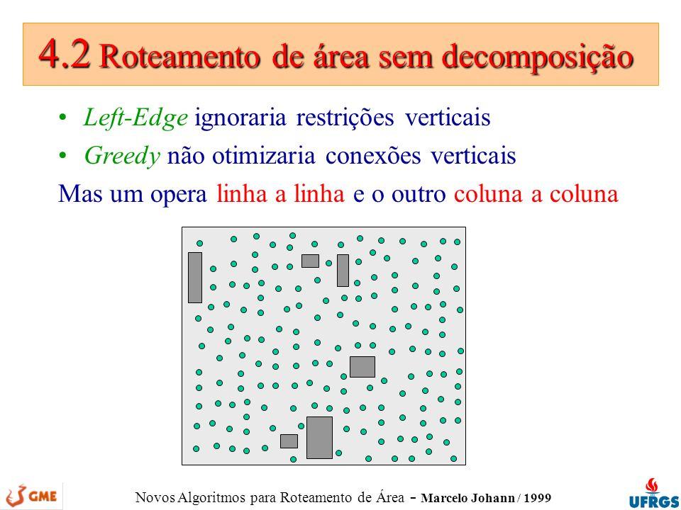 Novos Algoritmos para Roteamento de Área - Marcelo Johann / 1999 4.2 Roteamento de área sem decomposição 4.2 Roteamento de área sem decomposição Left-