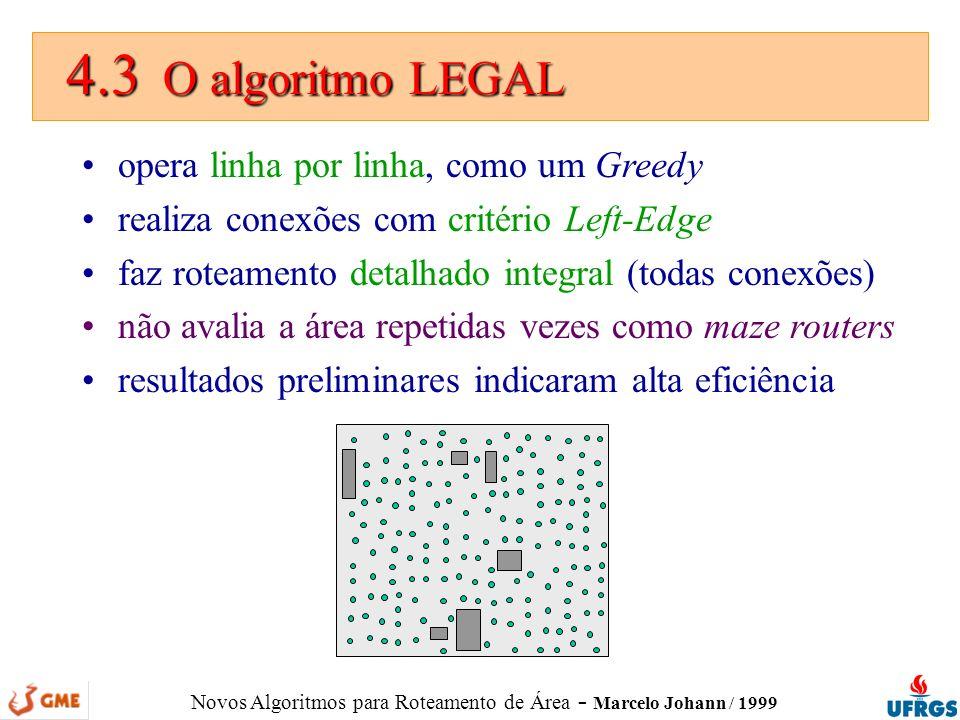 Novos Algoritmos para Roteamento de Área - Marcelo Johann / 1999 4.3 O algoritmo LEGAL 4.3 O algoritmo LEGAL opera linha por linha, como um Greedy rea