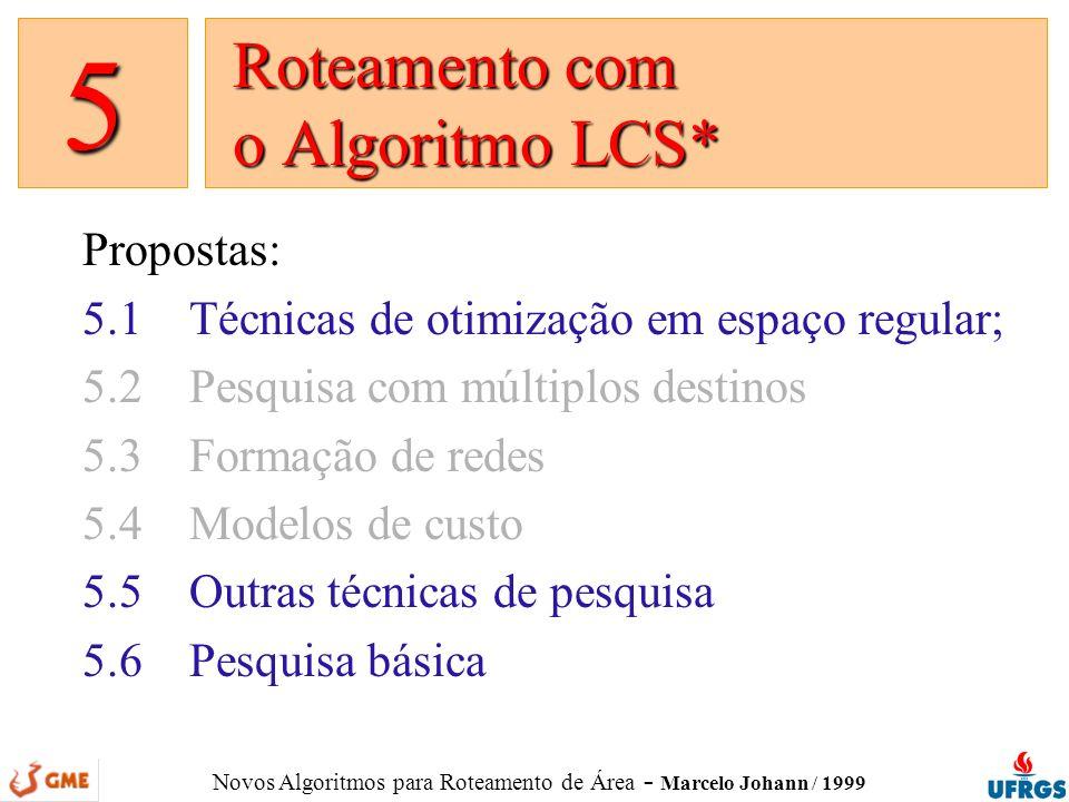 Novos Algoritmos para Roteamento de Área - Marcelo Johann / 1999 Propostas: 5.1Técnicas de otimização em espaço regular; 5.2Pesquisa com múltiplos des