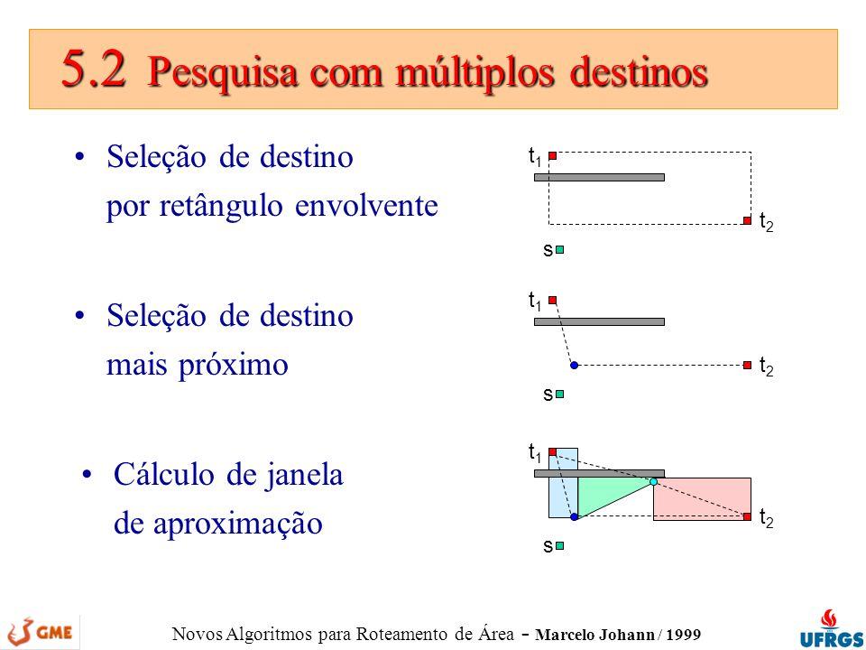 Novos Algoritmos para Roteamento de Área - Marcelo Johann / 1999 5.2 Pesquisa com múltiplos destinos 5.2 Pesquisa com múltiplos destinos Seleção de de