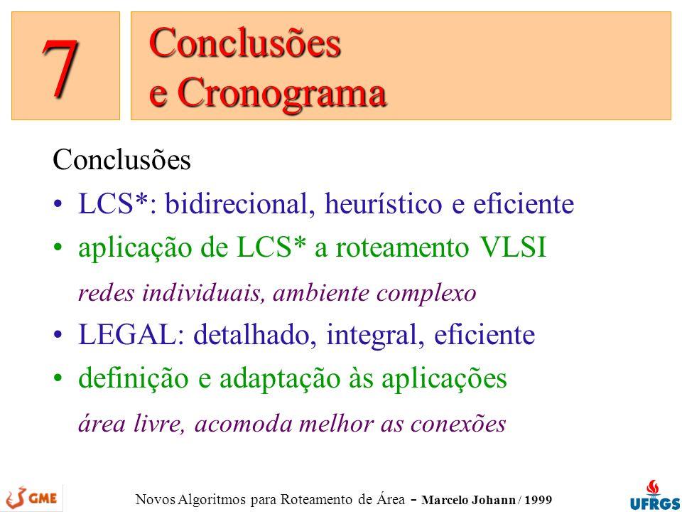 Novos Algoritmos para Roteamento de Área - Marcelo Johann / 1999 Conclusões LCS*: bidirecional, heurístico e eficiente aplicação de LCS* a roteamento