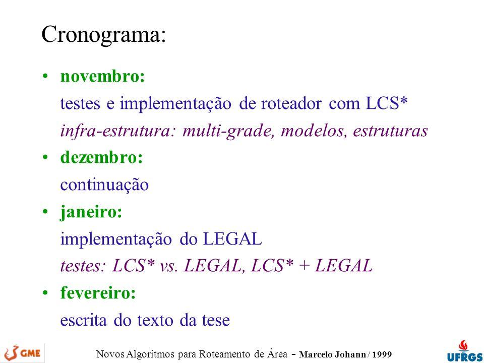 Novos Algoritmos para Roteamento de Área - Marcelo Johann / 1999 novembro: testes e implementação de roteador com LCS* infra-estrutura: multi-grade, m
