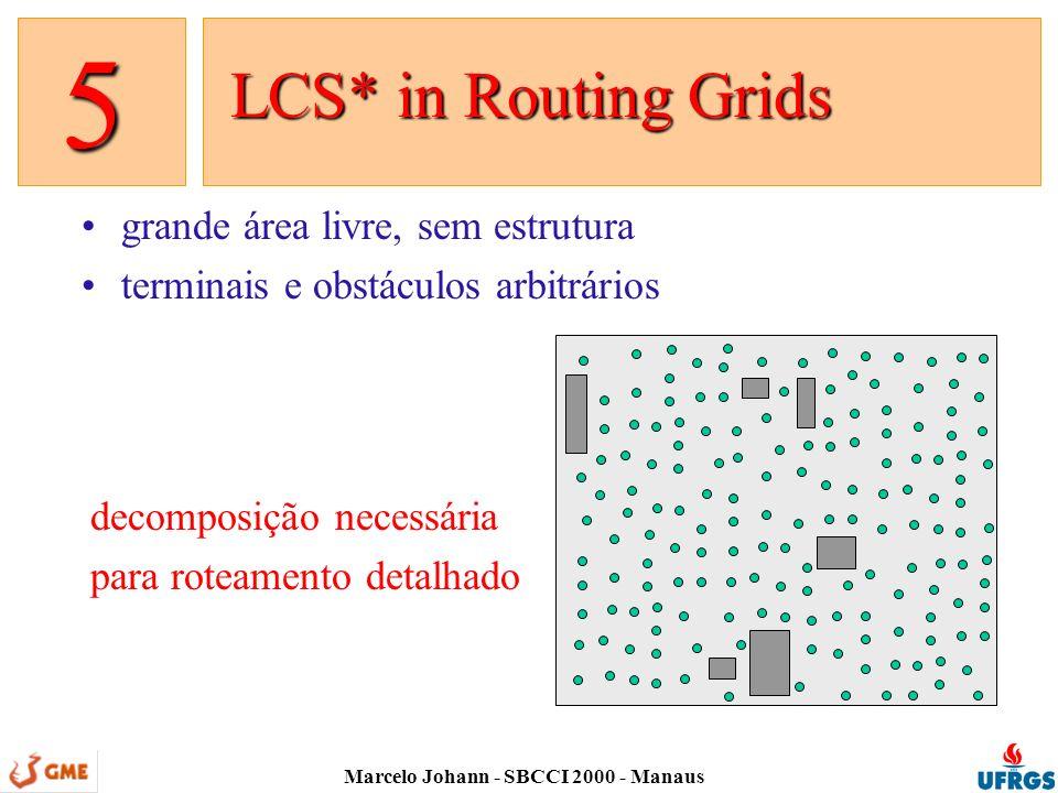 Marcelo Johann - SBCCI 2000 - Manaus grande área livre, sem estrutura terminais e obstáculos arbitrários LCS* in Routing Grids LCS* in Routing Grids 5 decomposição necessária para roteamento detalhado