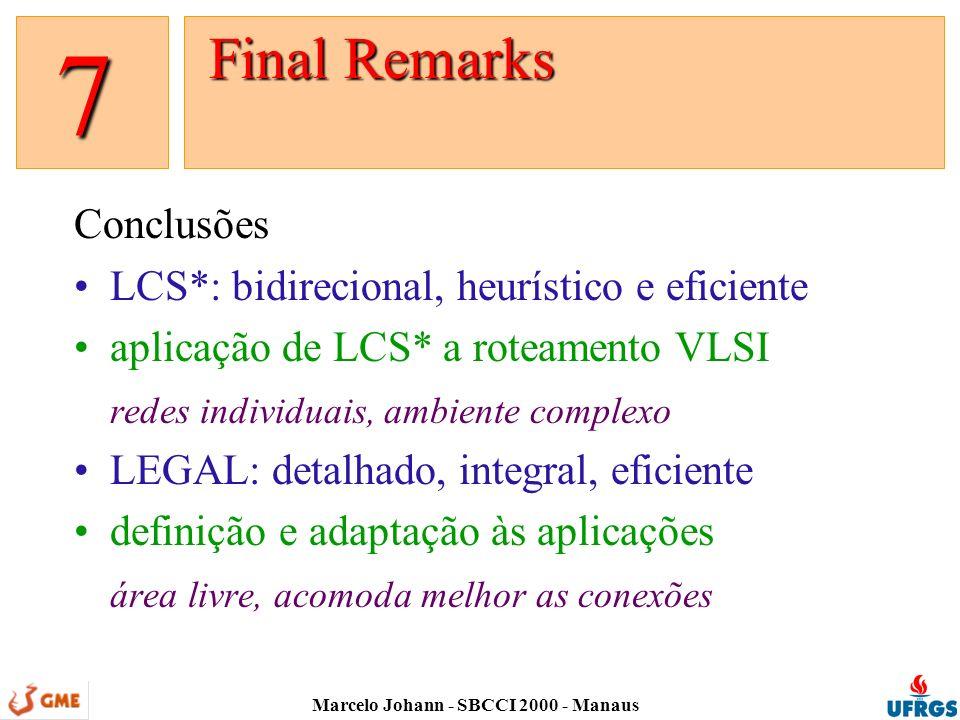 Marcelo Johann - SBCCI 2000 - Manaus Conclusões LCS*: bidirecional, heurístico e eficiente aplicação de LCS* a roteamento VLSI redes individuais, ambiente complexo LEGAL: detalhado, integral, eficiente definição e adaptação às aplicações área livre, acomoda melhor as conexões Final Remarks Final Remarks 7