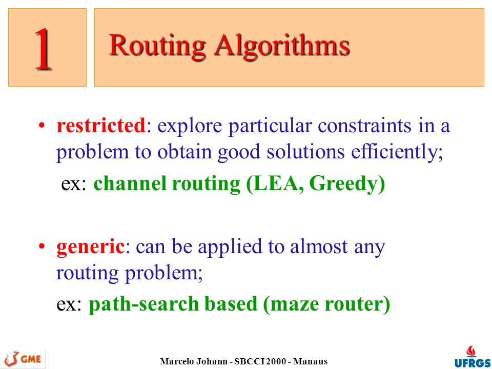 Marcelo Johann - SBCCI 2000 - Manaus Path Search Based Routing Path Search Based Routing 2 sequential: a single connection is made at a time, what leads to ordering problems; importance: accuracy, guarantee, interaction with other synthesis decisions, cleanup space is a graph: nodes are positions and arcs are movements; grids and mazes: a grid is a regular graph and a maze is a grid full of walls;