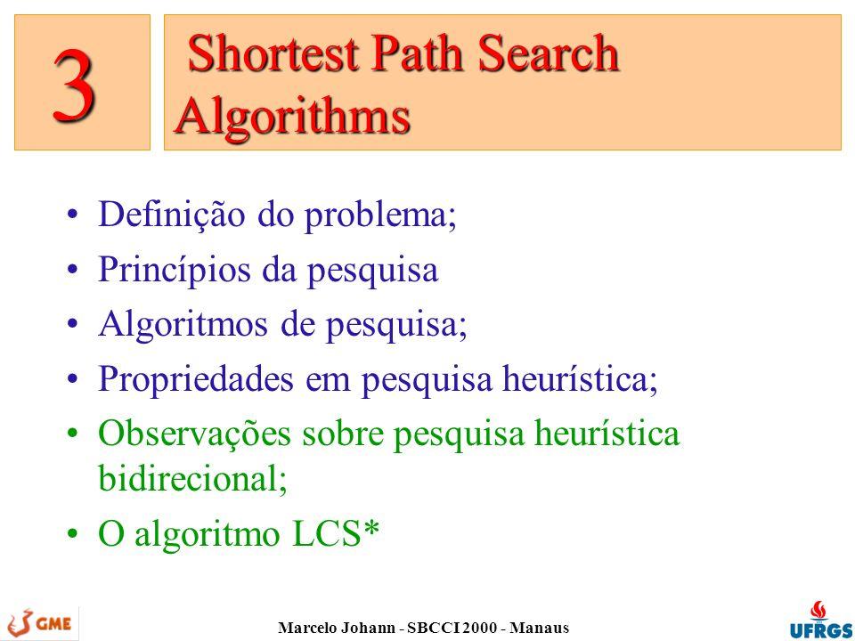 Marcelo Johann - SBCCI 2000 - Manaus Definição do problema; Princípios da pesquisa Algoritmos de pesquisa; Propriedades em pesquisa heurística; Observações sobre pesquisa heurística bidirecional; O algoritmo LCS* Shortest Path Search Algorithms Shortest Path Search Algorithms 3