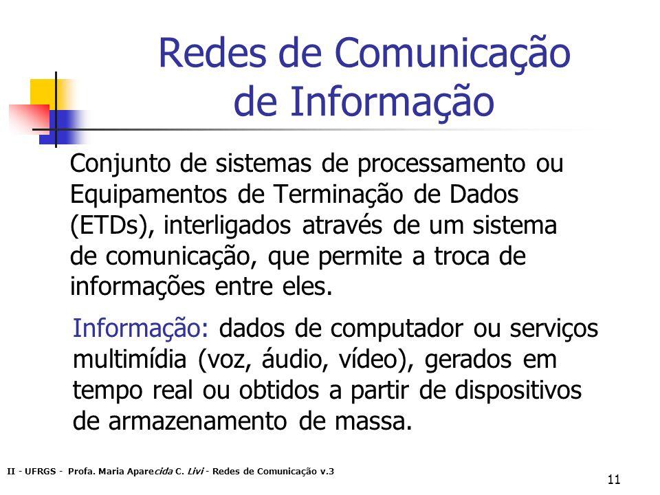 II - UFRGS - Profa. Maria Aparecida C. Livi - Redes de Comunicação v.3 11 Redes de Comunicação de Informação Conjunto de sistemas de processamento ou