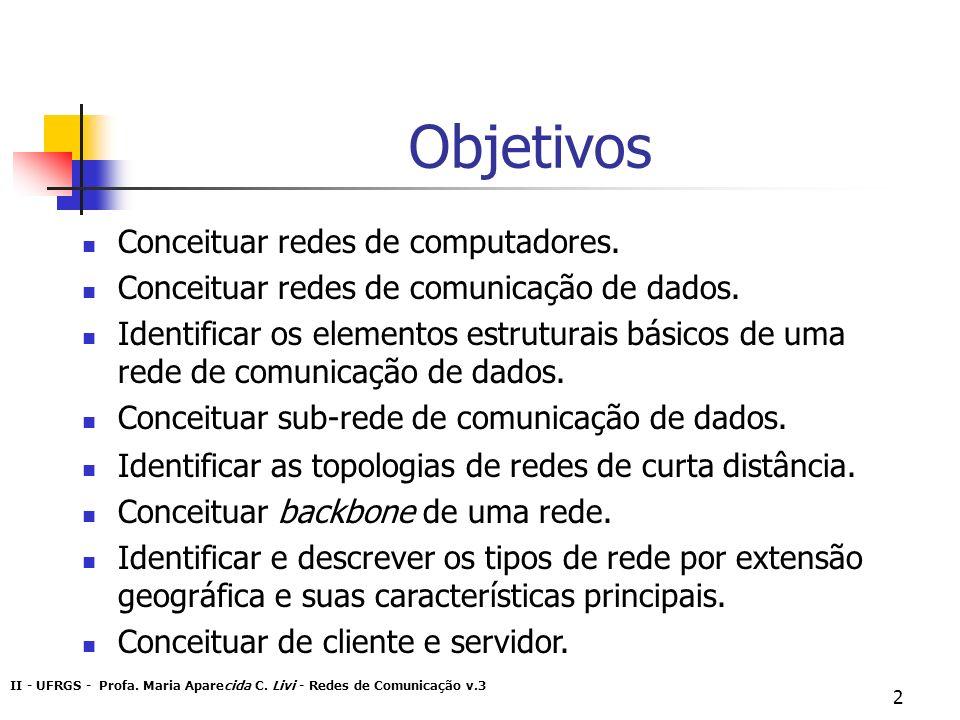 II - UFRGS - Profa. Maria Aparecida C. Livi - Redes de Comunicação v.3 2 Objetivos Conceituar redes de computadores. Conceituar redes de comunicação d