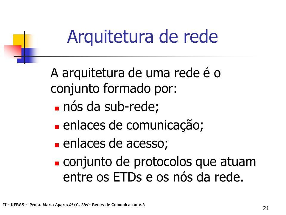 II - UFRGS - Profa. Maria Aparecida C. Livi - Redes de Comunicação v.3 21 Arquitetura de rede A arquitetura de uma rede é o conjunto formado por: nós