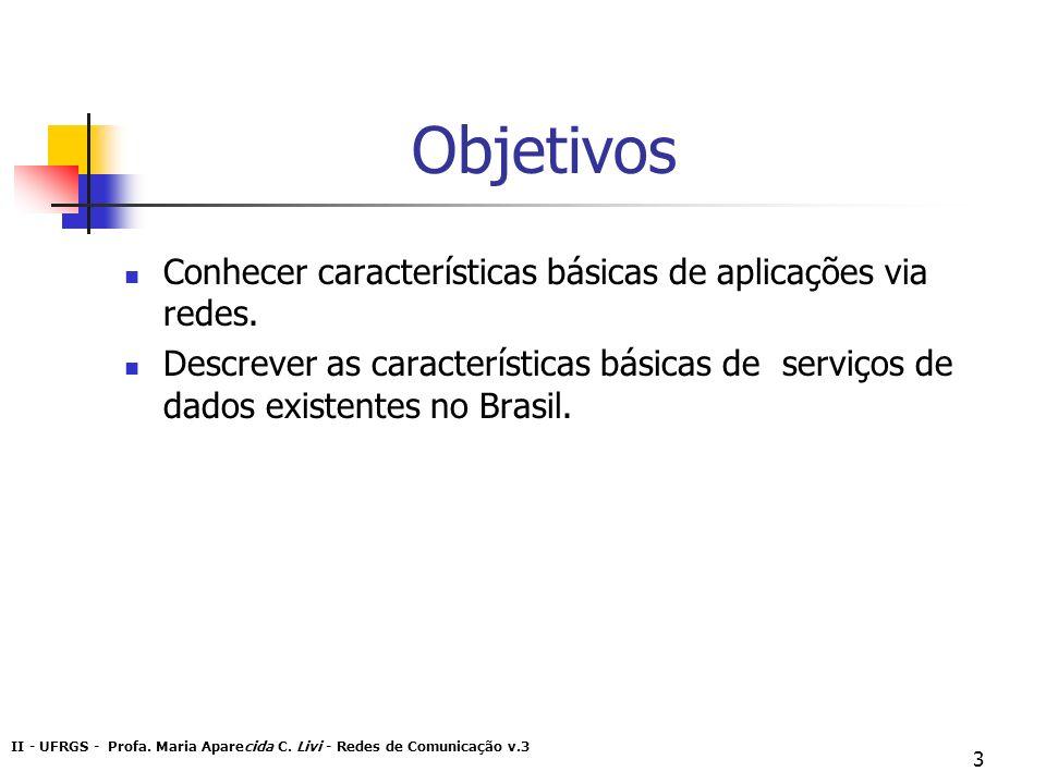 II - UFRGS - Profa. Maria Aparecida C. Livi - Redes de Comunicação v.3 3 Objetivos Conhecer características básicas de aplicações via redes. Descrever