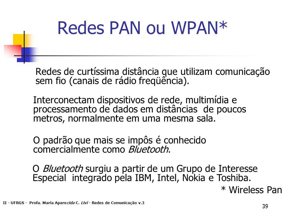 II - UFRGS - Profa. Maria Aparecida C. Livi - Redes de Comunicação v.3 39 Redes PAN ou WPAN* Redes de curtíssima distância que utilizam comunicação se