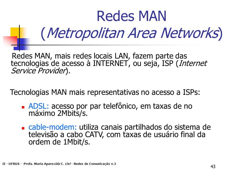 II - UFRGS - Profa. Maria Aparecida C. Livi - Redes de Comunicação v.3 43 Redes MAN (Metropolitan Area Networks) Redes MAN, mais redes locais LAN, faz