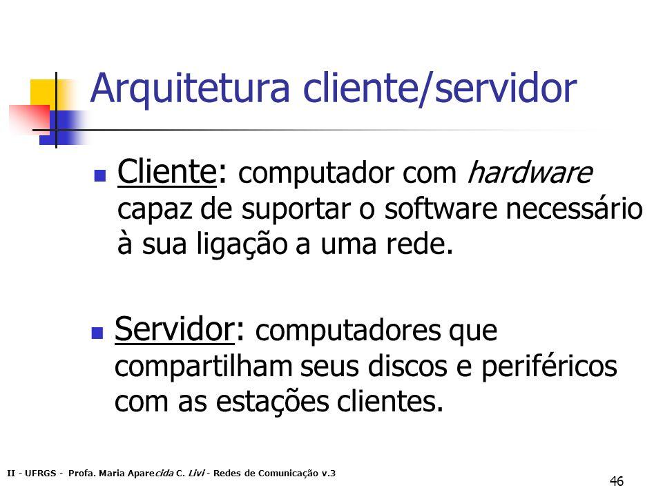 II - UFRGS - Profa. Maria Aparecida C. Livi - Redes de Comunicação v.3 46 Arquitetura cliente/servidor Cliente: computador com hardware capaz de supor