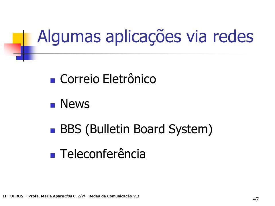 II - UFRGS - Profa. Maria Aparecida C. Livi - Redes de Comunicação v.3 47 Algumas aplicações via redes Correio Eletrônico News BBS (Bulletin Board Sys