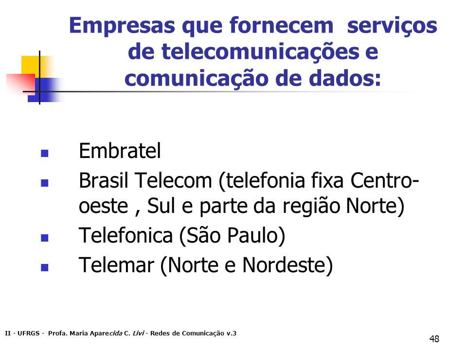 II - UFRGS - Profa. Maria Aparecida C. Livi - Redes de Comunicação v.3 48 Empresas que fornecem serviços de telecomunicações e comunicação de dados: E