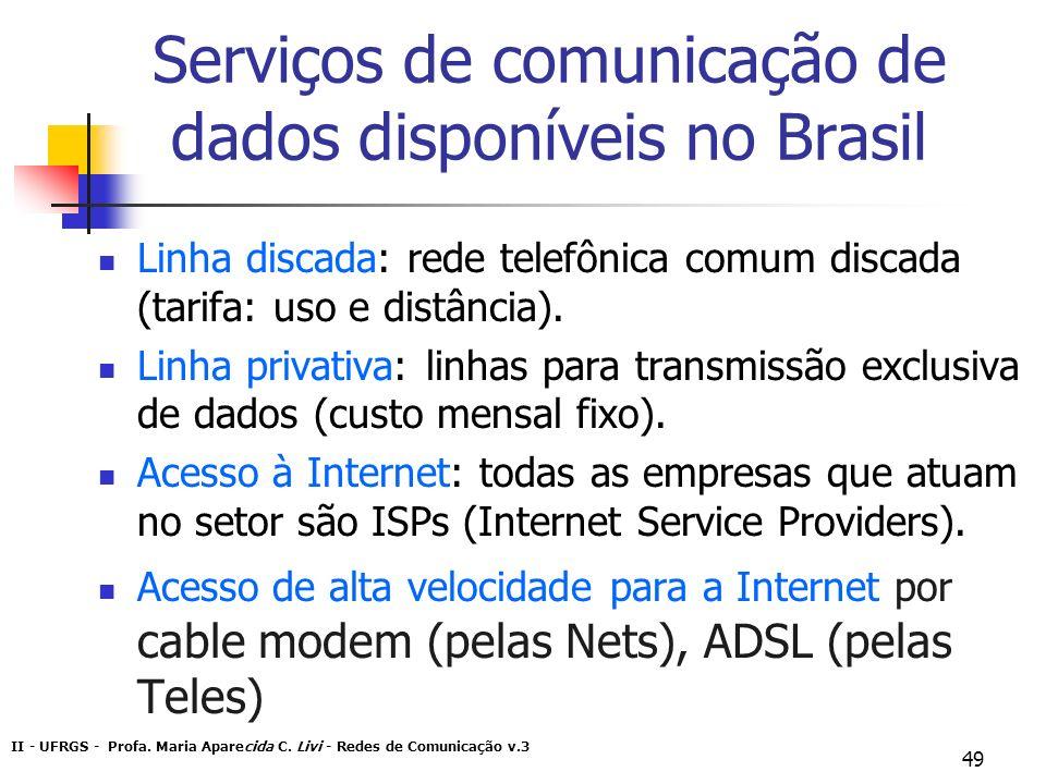 II - UFRGS - Profa. Maria Aparecida C. Livi - Redes de Comunicação v.3 49 Serviços de comunicação de dados disponíveis no Brasil Linha discada: rede t