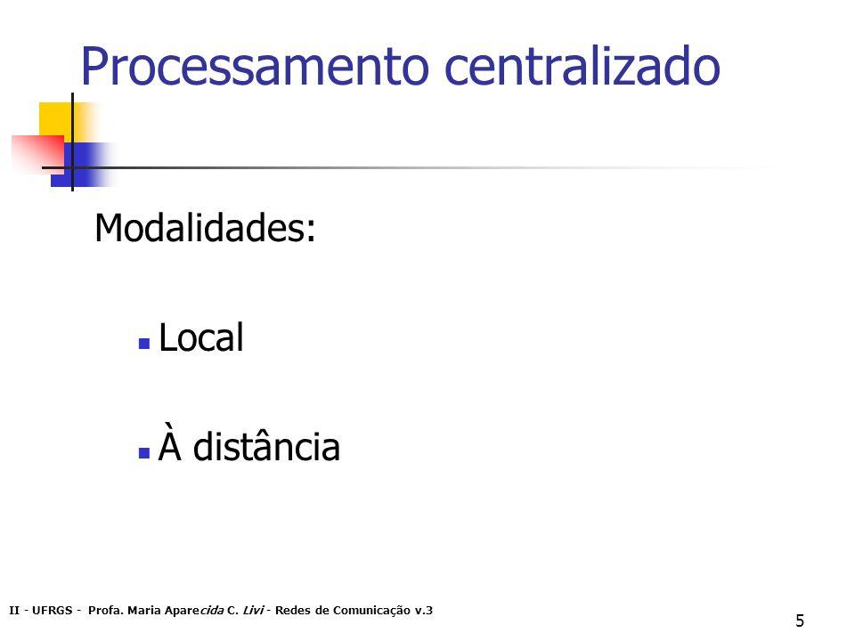 II - UFRGS - Profa. Maria Aparecida C. Livi - Redes de Comunicação v.3 5 Processamento centralizado Modalidades: Local À distância