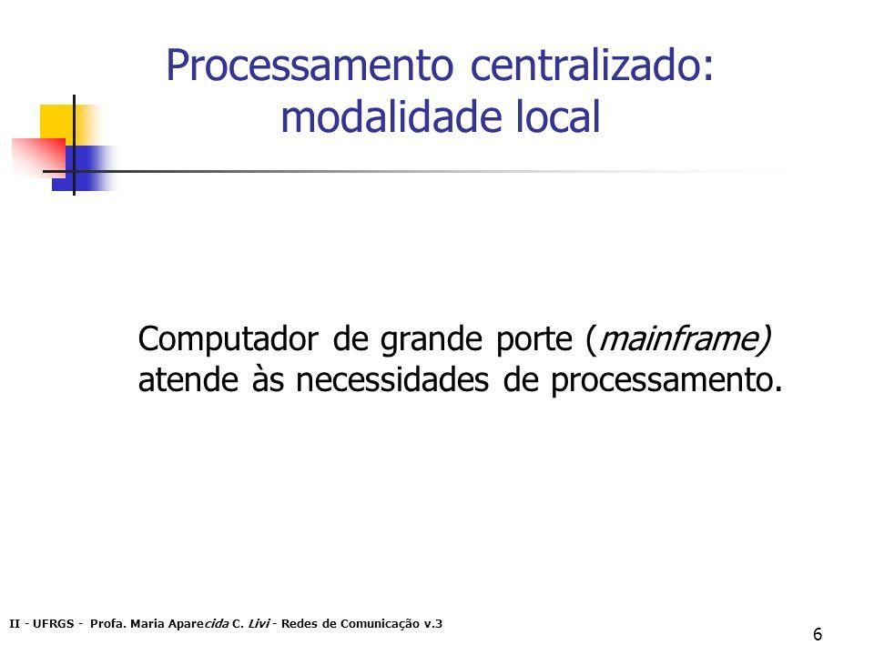 II - UFRGS - Profa. Maria Aparecida C. Livi - Redes de Comunicação v.3 6 Processamento centralizado: modalidade local Computador de grande porte (main