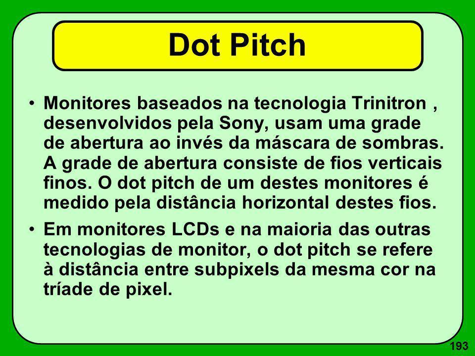 193 Dot Pitch Monitores baseados na tecnologia Trinitron, desenvolvidos pela Sony, usam uma grade de abertura ao invés da máscara de sombras. A grade
