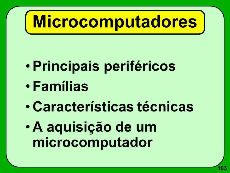 183 Microcomputadores Principais periféricos Famílias Características técnicas A aquisição de um microcomputador