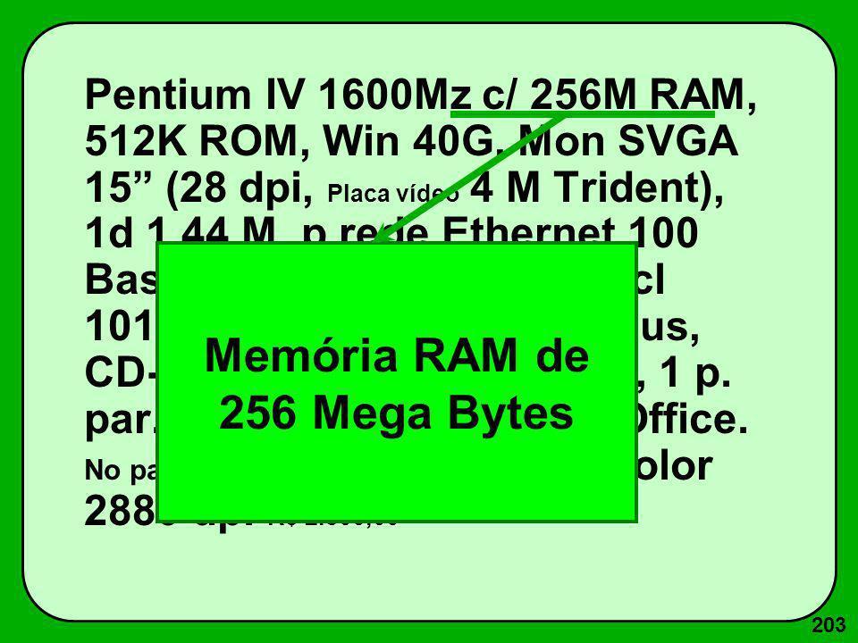 203 Pentium IV 1600Mz c/ 256M RAM, 512K ROM, Win 40G, Mon SVGA 15 (28 dpi, Placa vídeo 4 M Trident), 1d 1.44 M, p.rede Ethernet 100 Base T, Fax-Mod. 5