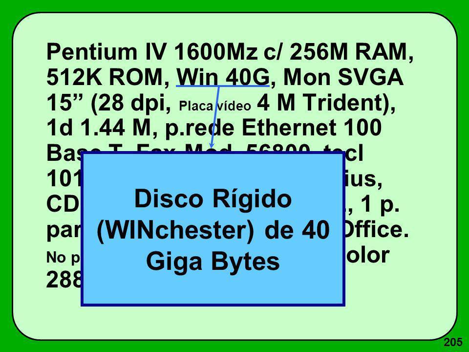 205 Pentium IV 1600Mz c/ 256M RAM, 512K ROM, Win 40G, Mon SVGA 15 (28 dpi, Placa vídeo 4 M Trident), 1d 1.44 M, p.rede Ethernet 100 Base T, Fax-Mod. 5