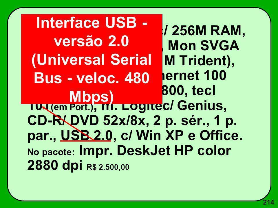 214 Pentium IV 1600Mz c/ 256M RAM, 512K ROM, Win 40G, Mon SVGA 15 (28 dpi, Placa vídeo 4 M Trident), 1d 1.44 M, p.rede Ethernet 100 Base T, Fax-Mod. 5