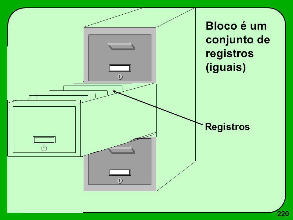 220 Registros Bloco é um conjunto de registros (iguais)