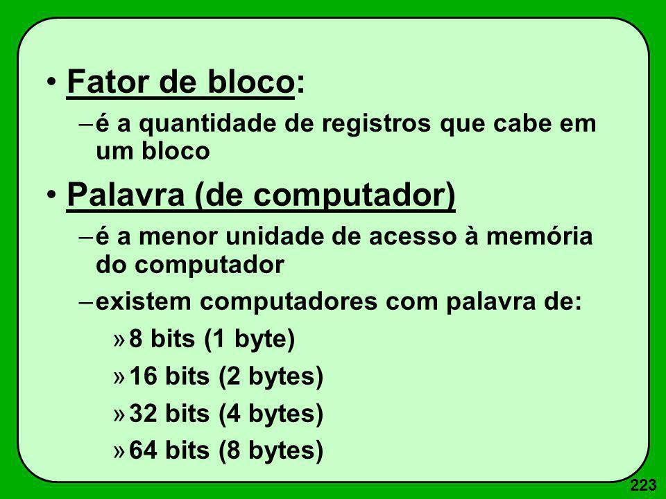 223 Fator de bloco: –é a quantidade de registros que cabe em um bloco Palavra (de computador) –é a menor unidade de acesso à memória do computador –ex